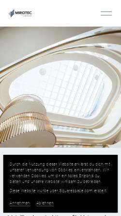 Vorschau der mobilen Webseite www.mirotec.de, Mirotec Glas- & Metallbau GmbH