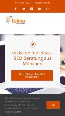 Vorschau der mobilen Webseite www.tekka.de, Tekka