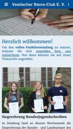 Vorschau der mobilen Webseite www.stenoclub.de, Vestischer Steno-Club e. V.