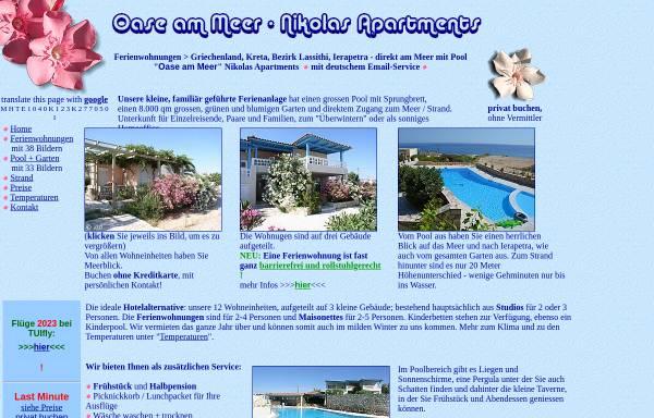 Vorschau von www.ferienwohnungen-insel-kreta.de, Oase-Apartments, Ierapetra