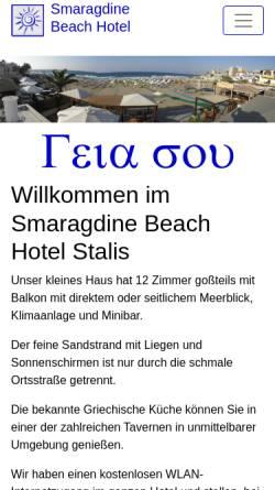 Vorschau der mobilen Webseite www.smaragdine.gr, Smaragdine Beach Hotel, Stalis