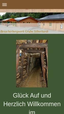 Vorschau der mobilen Webseite www.grube-silberhardt.de, Besucherbergwerk Grube Silberhardt