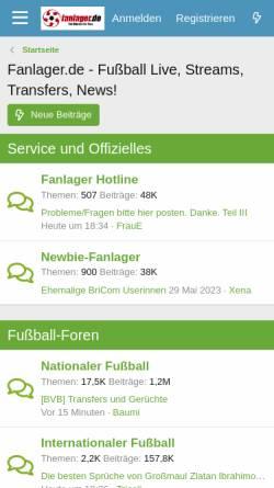 Vorschau der mobilen Webseite www.fanlager.de, Fanlager.de
