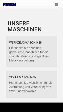 Vorschau der mobilen Webseite www.feyen.de, Feyen Maschinen GmbH