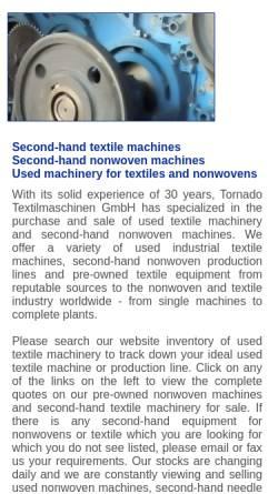 Vorschau der mobilen Webseite www.tornado-tex.de, Tornado Textilmaschinen GmbH