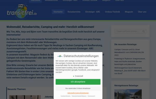 Vorschau von www.transitfrei.de, Campingabenteuer der Seiferts