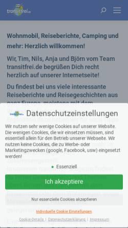 Vorschau der mobilen Webseite www.transitfrei.de, Campingabenteuer der Seiferts