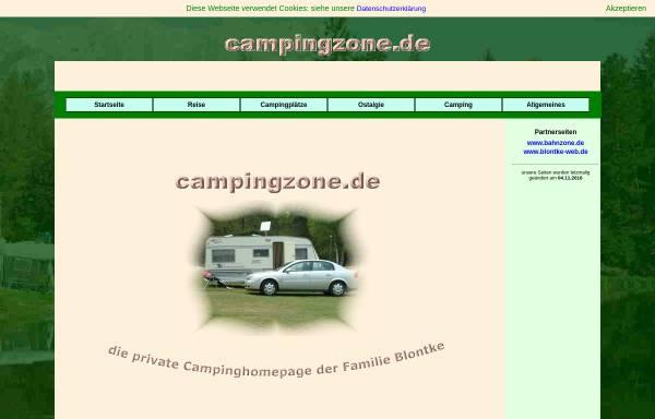 Vorschau von www.campingzone.de, Campingpage der Fam. Blontke
