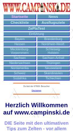 Vorschau der mobilen Webseite www.campinski.de, Campinski, die Zeltplatz-Artisten-Familie