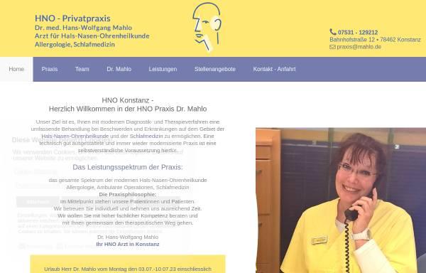 Vorschau von www.hno-konstanz.de, Praxis Dr. Wolfgang Mahlo