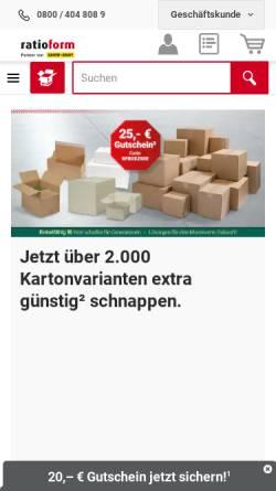Vorschau der mobilen Webseite www.ratioform.de, Ratioform Verpackungsmittel GmbH