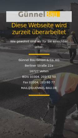 Vorschau der mobilen Webseite guennel-bau.de, Thesenvitz GmbH & Co. KG