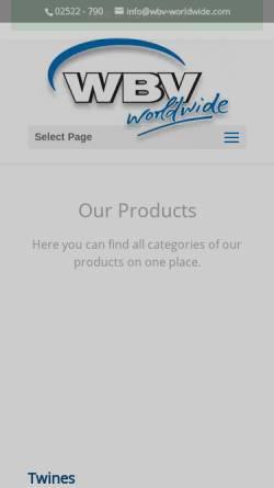 Vorschau der mobilen Webseite wbv-worldwide.com, WBV Eselgrimm GmbH & Co. KG
