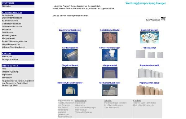Vorschau von www.hauger.de, Werbung&Verpackungen Vertriebs UG (haftungsbeschränkt)