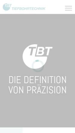 Vorschau der mobilen Webseite www.tbt.de, TBT Tiefbohrtechnik GmbH + Co