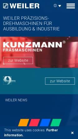 Vorschau der mobilen Webseite www.weiler.de, Weiler Werkzeugmaschinen GmbH