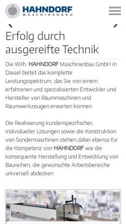 Vorschau der mobilen Webseite www.hahndorf.com, Wilh. Hahndorf Maschinenbau GmbH