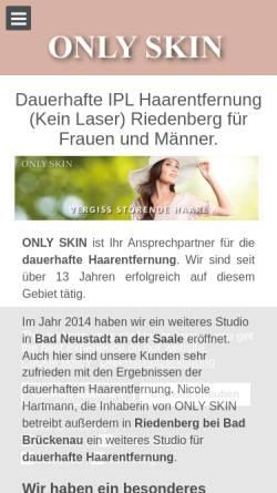 Vorschau der mobilen Webseite www.onlyskin.de, Only Skin