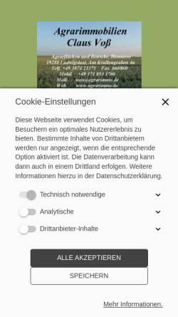 Vorschau der mobilen Webseite www.agrarimmo.de, Claus Voß, Agrarimmobilien