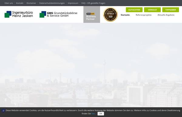 Vorschau von buero-jasken.de, Ingenieurbüro Heinz Jasken, Sachverständigenbüro für Grundstücksfragen