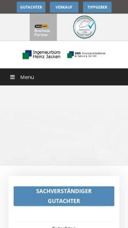 Vorschau der mobilen Webseite buero-jasken.de, Ingenieurbüro Heinz Jasken, Sachverständigenbüro für Grundstücksfragen