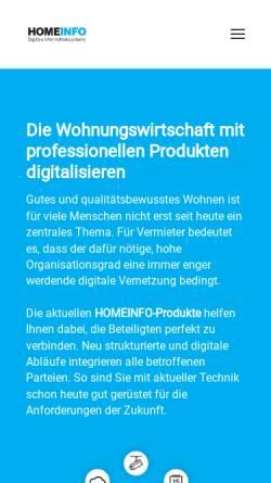 Vorschau der mobilen Webseite www.homeinfo.de, Homeinfo - Digitale Informationssysteme GmbH