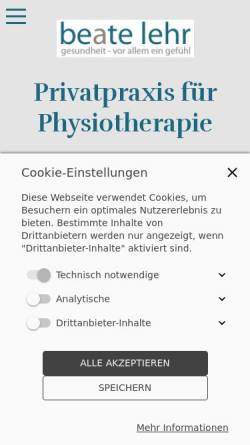 Vorschau der mobilen Webseite www.physio-lehr.de, Praxis für Physiotherapie - Beate Lehr