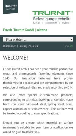 Vorschau der mobilen Webseite www.trurnit-friedr.de, Friedr. Trurnit GmbH
