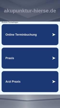 Vorschau der mobilen Webseite www.akupunktur-hierse.de, Dipl.-Med. Rosemarie Hierse