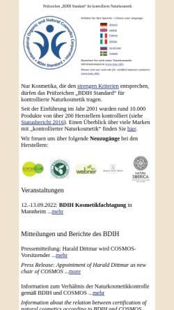 Vorschau der mobilen Webseite www.kontrollierte-naturkosmetik.de, Arbeitsgruppe Naturkosmetik des BDIH