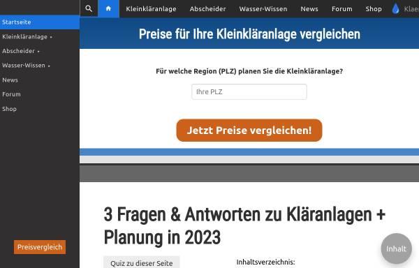 Vorschau von www.klaeranlagen-vergleich.de, Kläranlagen-Vergleich