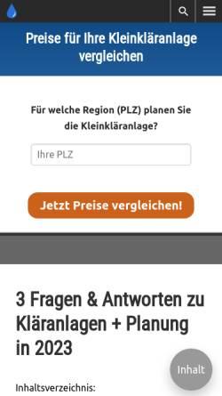 Vorschau der mobilen Webseite www.klaeranlagen-vergleich.de, Kläranlagen-Vergleich