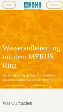 Vorschau der mobilen Webseite www.merus.de, Merus Flüssigkeitsbehandlung