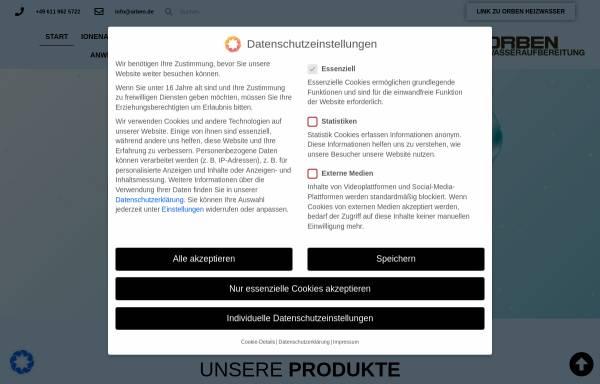 Vorschau von orben-wasseraufbereitung.de, Orben Wasseraufbereitung - Regenerationsservices