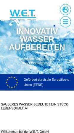 Vorschau der mobilen Webseite www.wet-gmbh.com, W.E.T. GmbH