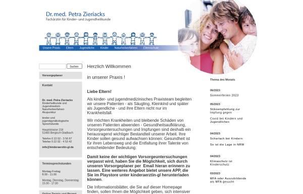 Vorschau von www.kinderaerztin-gl.de, Dr. med. Petra Zieriacks