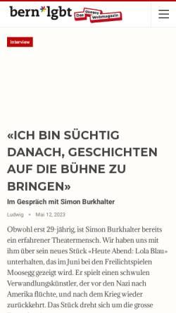 Vorschau der mobilen Webseite gaybern.ch, Gay-Bern und HAB
