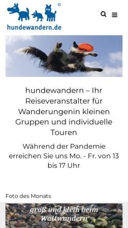 Vorschau der mobilen Webseite www.hundewandern.de, Natours Reisen GmbH