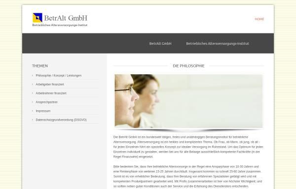 Vorschau von www.betralt.de, BetrAlt Betriebliches Altersversorgungs-Institut GmbH