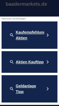 Vorschau der mobilen Webseite www.baadermarkets.de, Baader Markets
