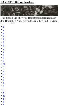 Vorschau der mobilen Webseite boersenlexikon.faz.net, Börsenlexikon F.A.Z. Electronic Media GmbH