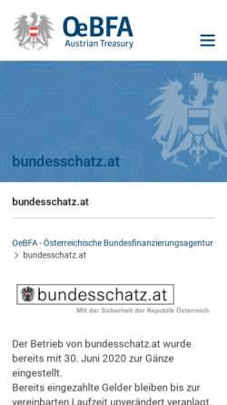 Vorschau der mobilen Webseite www.bundesschatz.at, Bundesschatz.at - Wertpapiere der Republik Österreich