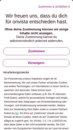 Vorschau der mobilen Webseite www.onvista.de, OnVista Media GmbH
