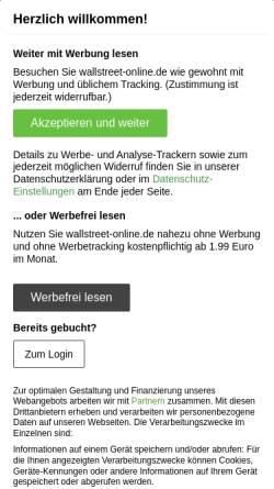 Vorschau der mobilen Webseite www.wallstreet-online.de, Wallstreet:online AG