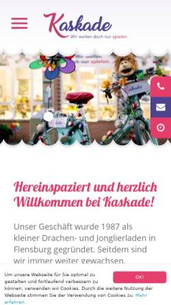 Vorschau der mobilen Webseite shop.kaskade-flensburg.de, Kaskade