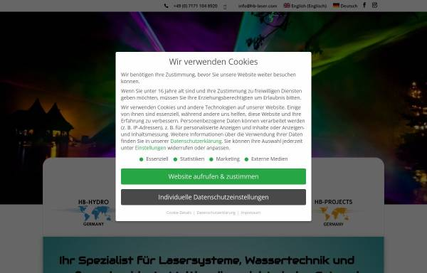 Vorschau von www.hb-laser.com, HB-Laserkomponenten GmbH