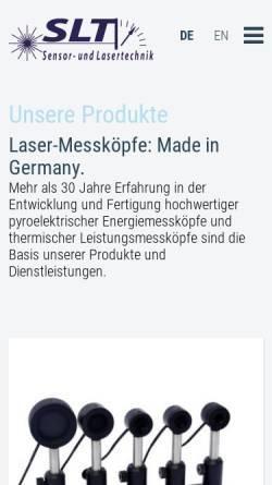 Vorschau der mobilen Webseite www.pyrosensor.de, Sensor- und Lasertechnik - Dr. W. Bohmeyer