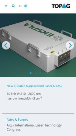 Vorschau der mobilen Webseite www.topag.de, TOPAG Lasertechnik GmbH