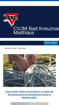 Vorschau der mobilen Webseite www.cvjm-badkreuznach.de, CVJM Bad Kreuznach, Matthäusgemeinde
