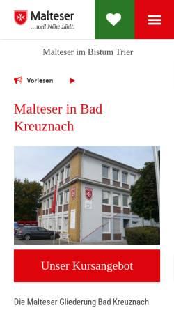 Vorschau der mobilen Webseite www.malteser-kreuznach.de, Malteser Stadtgeschäftsstelle Bad Kreuznach